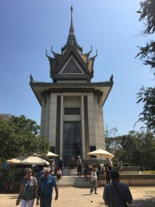 The Stupa fiilled with skulls at The Killing Fields in Phnom Penh